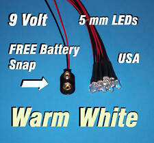 10 x LED -5mm PRE WIRED LEDS 9 VOLT WARM WHITE 9V USA
