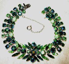 Sherman Jewels of Elegance- Double Signed Sherman Navette Bracelet in AB Greens