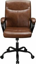 Leather Office Chair Desk Home Wheels Vintage Computer Tan Executive Managerial