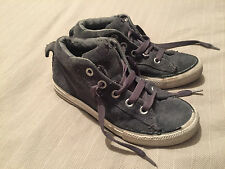 Child's Converse All Star Grey Suede Hi Top Boots Size 1 Good Condition