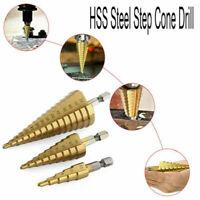 3Size Large HSS Step Titanium Cone Drill Hole Cutter Bit Set Tool 4-12/20/32mm