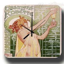 Absinthe robette 1896 vintage alcool style rétro en métal étain signe horloge murale