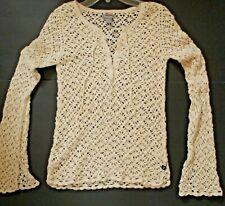 Hollister Womens SZ Jr S Ivory Crochet Knit Long Bell Sleeve top Open Weave