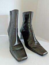 Nine & Company Women's Brown Leather Zip Block Heel Ankle Boots Sz 7M