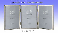 "Silver Plated Hinged Triple Photo Frame,Velvet Backed.3x( 3½""x 5"")(#2-400-30)"