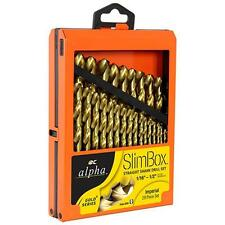 Qty 1 Alpha Slimbox 29 Piece Imperial Drill Set Gold Series Titanium Nitride HSS
