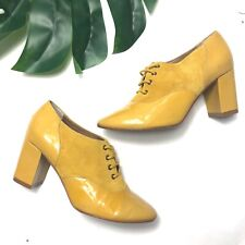 Nina Payne Anthropologie Womens Size 38 US 8 Yellow Oxford Shoe Heel Patent