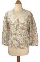Vintage LAURA ASHLEY Multicoloured Floral Peter Pan Collar Blouse Size 14UK
