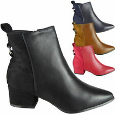 Womens Zip Ankle Booties Ladies Mid Heel Pointy Chelsea Work Casual Shoes Size