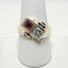 Vintage Natural Diamond 14k Gold Men's Ring (5238)