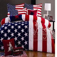 America Flag Queen Size Bed Quilt/Duvet/Doona Cover Set New 100% Cotton Linen