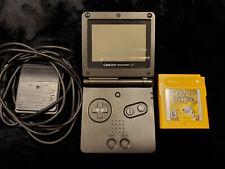 Nintendo Black Game Boy Advance SP & AUTHENTIC Pokemon Yellow & ORIGINAL charger