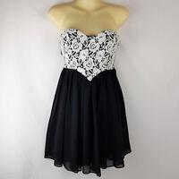 Sz 8 S Petite DOTTI Black White Lace Strapless Sweetheart Cocktail Party Dress