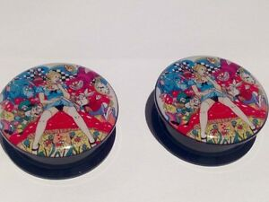 Pair Naughty Alice In Wonderland Ear Plugs Flesh Tunnels Stretcher Taper 6-30mm