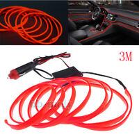 12V 3M Red LED Neon Cold Light Car Interior Strip Lamp Mood Creative Decoration
