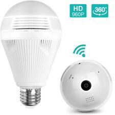 960P Security IP Wifi Wireless Mini  Camera 360° Panoramic 3D VR Light Bulb Cam