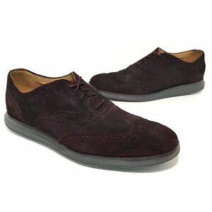 Cole Haan Mens Lunargrand Suede Wingtip Shoes Size 12 M Dark Wine Red