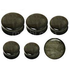 PAIR-Stone Obsidian Golden Double Flare Ear Plugs 08mm/0 Gauge Body Jewelry