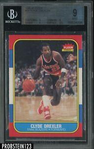 1986 Fleer Basketball #26 Clyde Drexler RC Rookie HOF BGS 9 MINT w/ 9.5