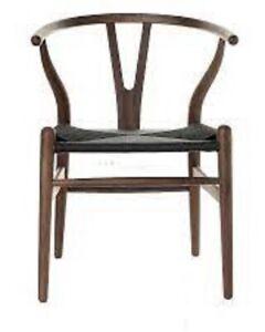 Wishbone (Y) Chair - CH24 - Walnut - Black Cord Inspired by:- Hans J. Wegner