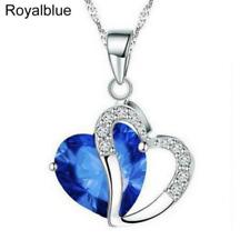 Plata y Cristal Gruesa Collar de Corazón en Azul Real ** ** regalo de boda de vendedor de Reino Unido