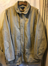 VINTAGE NAUTICA MEN'S 2XL XXL FIELD BARN CHORE JACKET LEATHER COLLAR FULL ZIP