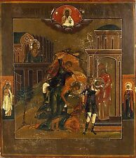 Large Original Antique Russian Icon Beheading of St John the Baptist