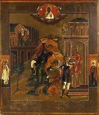 Large Original Antique Russian Icon Beheading of St John the Baptist