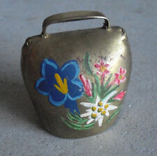 """Vintage Brass Hand Painted Flowers Small Cow Bell Ringing Bell  3"""" Tall"""