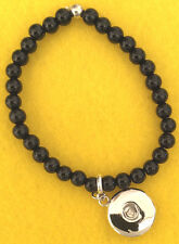 * Stretchy Small Black Bead Bracelet Dangle Fit Ginger Snaps Style Snap Buttons