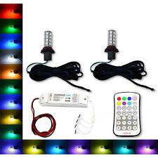 9006 27 SMD RGB Multi-Color Changing Shift Led Fog Light DRL Bulb M7 Pair