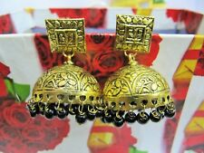 Awesome Black Onyx Gold Oxidize Plated Jhumka Style Stud Earrings Jewelry.