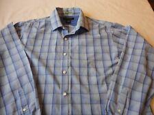 J.Ferrar Men's Blue Plaid Button Up Shirt Long Sleeve XXL 18-18 1/2 100%Cotton