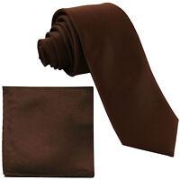 "New Polyester Men's 2.5"" Neck Tie & hankie formal wedding prom party work brown"