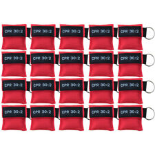100 X CPR Face Mask  Keychain Pouch Mask One Way Valve First Aid Face Shields