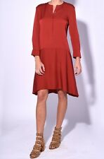 $365 THEORY CARSTAN Red Oak Silk Crepe de Chine Shift Dress - Sz 0 (XS)