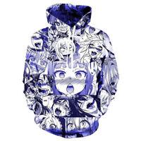 Anime Ahegao Face Hentai Manga Men's 3D Zip Up Hoodie Sweatshirt Pullover Jumper