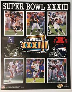Super Bowl Poster XXXIII 1999 Original VTG NFL Denver Broncos Atlanta Falcons