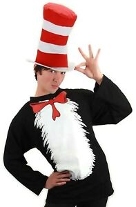 Adult Book Dr. Seuss The Cat in the Hat Costume Long T-Shirt & Striped Hat Set
