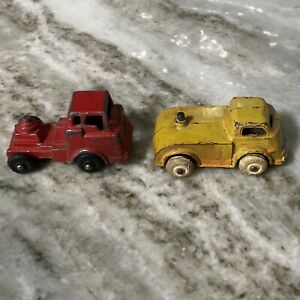 Lot Of2 Vintage Barclay Slush Mold Red Car Transport Truck Played With Condition