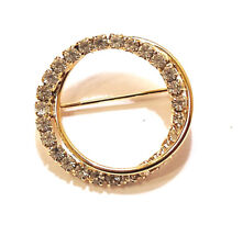 Sparkly Clear Rhinestones Brooch Pin Two Circles Shiny Gold Tone Metal