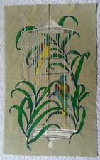 "Vintage Hand Painted Tapestry Velvety Parrots Birds Birdcage Tropical 21"" × 34"""