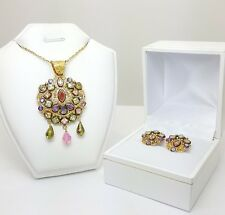 22ct (916, 22K) Yellow Gold Large Created Stone Pendant & Earring Set