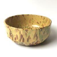Antique Spongeware Splatterware Serving Bowl with Faceted Sides Stoneware