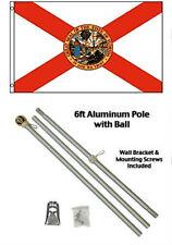 3x5 STATE OF FLORIDA BANDERA ALUMINIO Polo Kit Dorado Bolas en parte superior