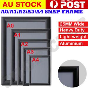 A0 A1 A2 A3 A4 PREMIUM Aluminum Snap poster frame Sign holder wall Black