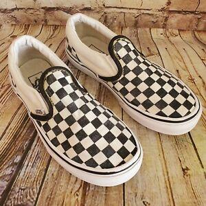 Vans Slip On Black /White Checkerboard  Spicoli Sneakers Boy's Kid's Size 1