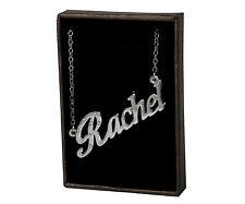 Collar de nombre Rachel-de 18 quilates chapado Oro Blanco Plateado-Accesorios Personalizados Joyería
