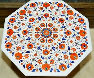 30 x 30 Inches Floral Design Inlaid Marble Sofa Table Top White Coffee Table