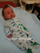 "Full Silicone 15"" Baby Boy Doll with Rooted  Hair Ooak Doll"